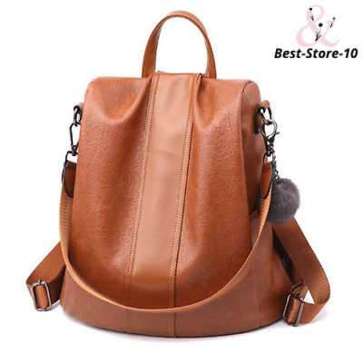 Anti-Theft Waterproof Soft Leather Casual Backpack & Shoulder Bag With Large Cap