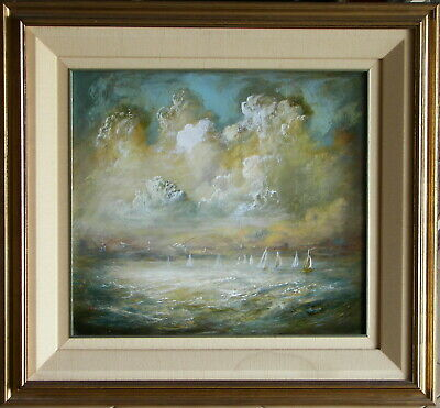 Carl Stringfellow (1954-) Original Oil Painting Sailing Stormy Sydney Harbour
