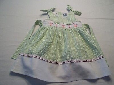 a9e04242f3e Seersucker Smocked FLAMINGO gingham green Summer Girls Infant Dress Size  18month
