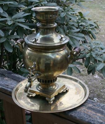 Antique Solid Brass RUSSIAN IMPERIAL Era SAMOVAR W brass tray