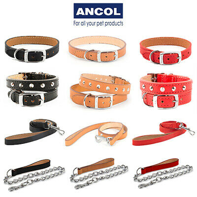 Ancol Heritage Leather Collars Chain Lead Studded Stitched Black Red Tan