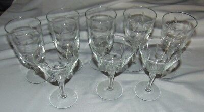 Vintage CRYSTAL Goblets w/Etched Leaf Pattern MIX Lot of 8 Water WINE Champagne