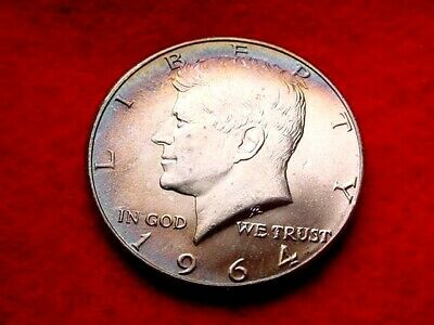 1964 Kennedy Half Superior Rainbow Toned Bu Coin!!  #35