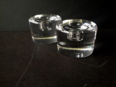 Pair of Small Crystal Cylinder Candle Holders by Orrefors, Sweden