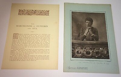 Rare Large Antique Lovely Victorian Portrait Marchioness of Dufferin & Ava Photo