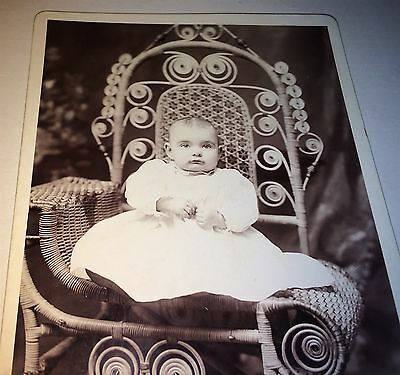 Antique Adorable Victorian American Child, Fantastic Wicker Chair Cabinet Photo!