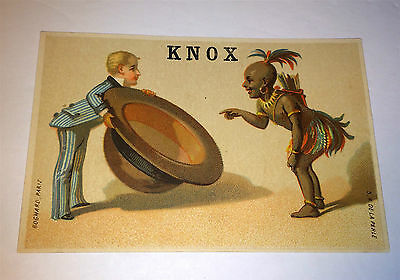 Antique Victorian African & Salesman Knox Hatter Advertising New York Trade Card