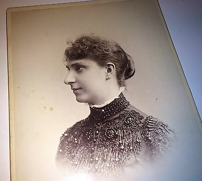 Antique Victorian Woman W/ Lovely Glass Beaded Fashion! New York! Cabinet Photo!