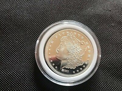 SMI Morgan / Eagle 1 oz .999 Fine Silver Collector Round w/Security Circle