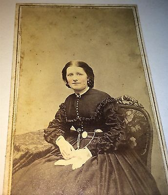 Antique Civil War ID'd American Woman, Mrs. Ayer! New Haven, CT! Watch CDV Photo