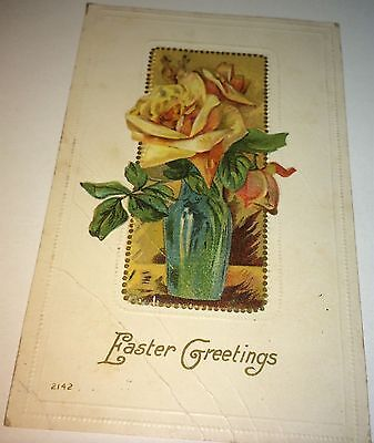Beautiful Antique American Floral Easter Greetings Holiday Postcard! C.1909 NY!
