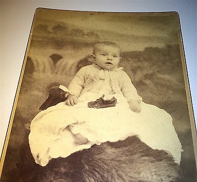Antique Victorian American Adorable Child, Shoe On Lap! New Jersey Cabinet Photo