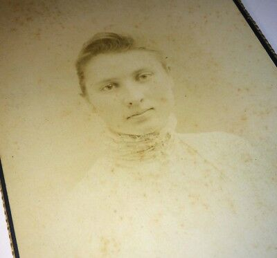 Old Antique Cabinet Photo Beautiful  Woman Victorian Fashion White Dress! Maine!