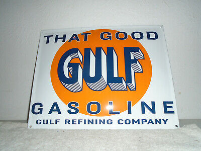 Vintage That Good Gulf Gasoline Flange Porcelain Hanging Sign-Gas Station