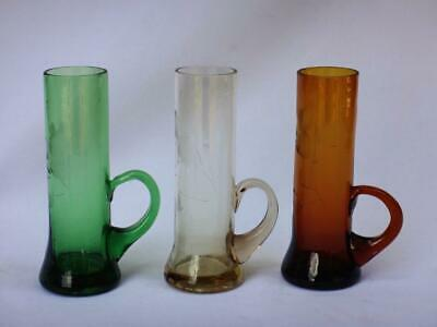 Vintage Set of 3 Blown Etched Colored Glass Shot Glasses Shooters Applied Handle