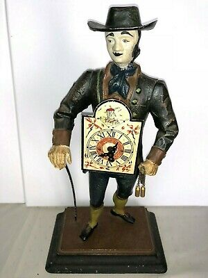 "Rare Vintage J.v.E Clock Dutch Clock Seller - JvE Holland Metal Figure 15"" Tall"