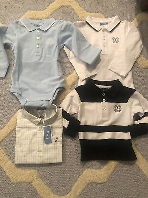 Lot Of 4 Jacadi Baby 18M 18 Month New Nwt Bodysuit Long Sleeve Shirts Polo Boys
