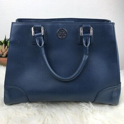 9e3f71fc81e7 Tory Burch Blue Leather Handbag Double Strap Tote Inner Multi Pocket Purse