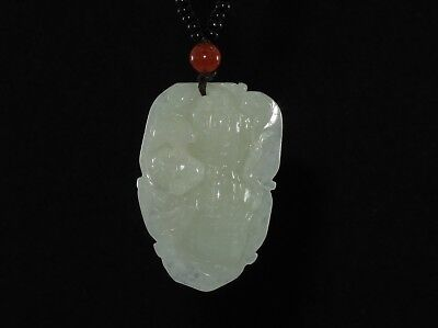 "1.8"" China Certified Grade A Nature Hisui Jadeite Jade Blessing Bat Neckalce"