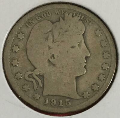 1915 Barber SILVER Quarter! Very Good! Old US Coin!