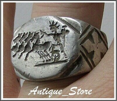 ** SOL INVICTUS ** Ancient Silver Legionary Roman Ring **AMAZING ** 25.9 grams