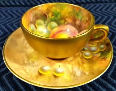 Royal Worcester Demitasse Cup & Saucer Set with Grapes & Apples