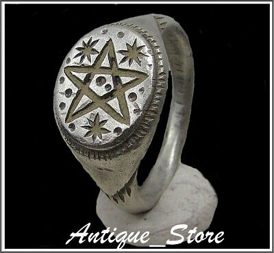 ** PENTAGRAM and THREE STARS ** Ancient Silver Roman Ring **AMAZING **