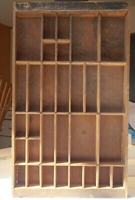 """Antique Typeset Printers Tray Drawer Shadow Box Wooden 17-3/4""""X10"""" - 30 Boxes"""