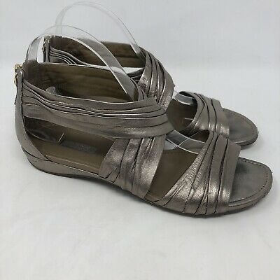e7722840923ac1 ECCO Gladiator Sandals 40 Gold Leather Metallic Open Toe 9-9.5 US Shoes  Comfort