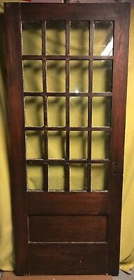 Antique Arts & Crafts Wood Exterior French Entry Door /w 20 Glass Panes 34x82
