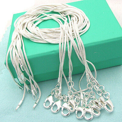 18Inch Wholesale Amazing 10pcs Pure Silver Plated Snake Chain Necklace 1mm