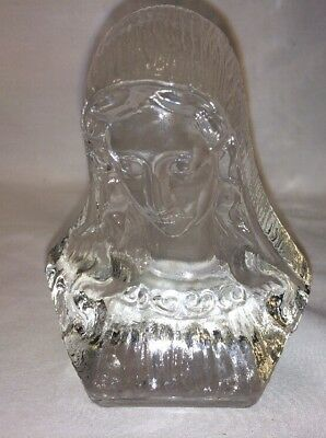 Rare Size Viking Glass Virgin Mary Statue Bust Paper Weight Excellent
