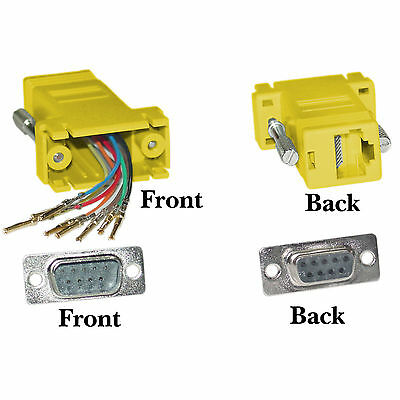 Modular Adapter, Yellow, DB9 Male to RJ45 Jack Part 31D1-1720YL