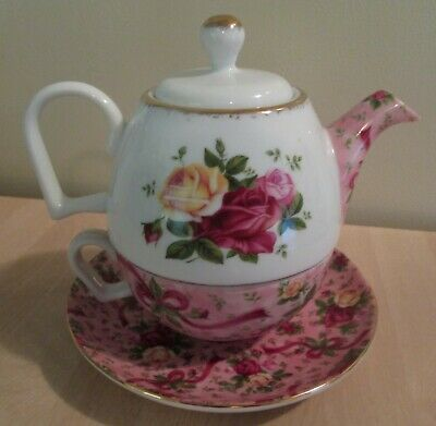 RARE Royal Albert Old Country Roses Pink Chintz Teapot Cup Saucer TEA FOR ONE