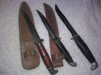 3 FIXED BLADE Knives Vintage Western, Case Xx, Unknown With Sheaths