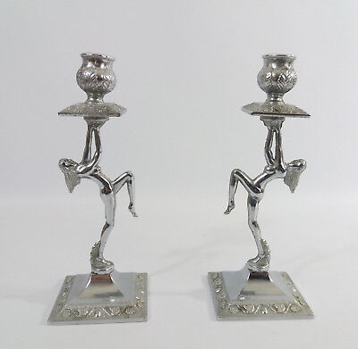 Art deco / Retro1950s Pair of Chrome Nude/Naked Dancing Female Candlesticks