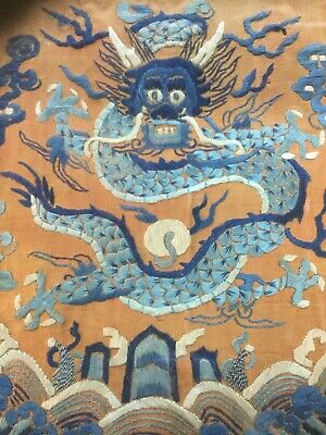 Antique Qing Chinese Silk Embroidery Dragon Robe Reminant Picture