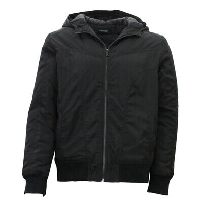 Mens Windcheater Bomber Jacket Hooded Water Resistant Padded Winter Thick Hoodie