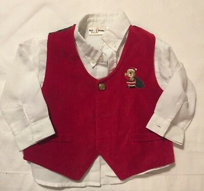 Baby Boy Dress Shirt/vest White/Red size 18 month Christmas Suede B.T Kids