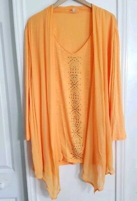 9107907341 NEW Reba Cardigan Blouse Size 3XL Orange Womens Long Sleeve Plus Size Top