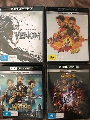 Bulk 4x Brand New Marvel 4k Ultra HD + Blu-Ray(Black Panther,Venom,Infinity War)