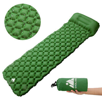 Self Inflating Mat Outdoor Sleeping Pad Hiking Pillow Air Mattress Camping Green