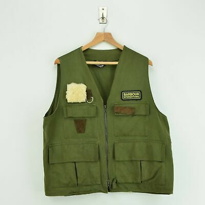 Vintage 80s Barbour International Green Fly Fishing Waistcoat Vest Made in UK XL