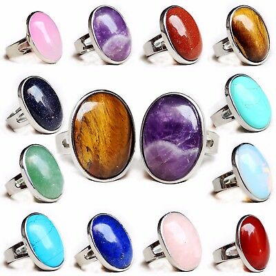 Semi-precious Stone Energy Crystal Oval Jewelry Open ring Gemstone/Free shipping