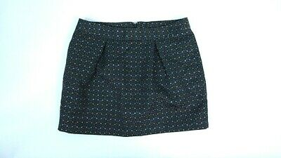 Old Navy Womens Black Silver Gold Embroidered Metallic Lined Mini Skirt Size 8