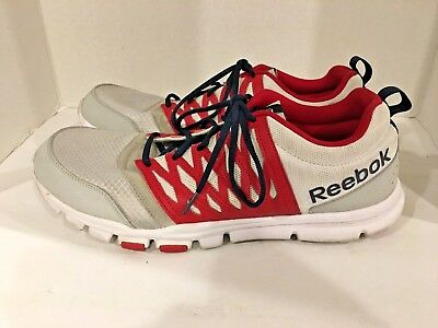 Rare Reebok Yourflex Trainette 5.0 MT Running Shoes White/Gray/Red/Blue Men's 13