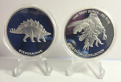 "2014 1 OZ STEGOSAURUS COIN ""The Dinosaur Collection"" Finished in 999 Silver"