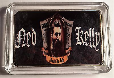 """""""NED KELLY"""" Such Is Life Colour Printed HGE 999 24k Gold Ingot/token #17"""