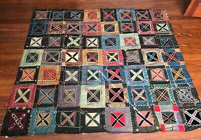 Antique Outstanding Early Handmade Wool Silk Crazy Quilt Top