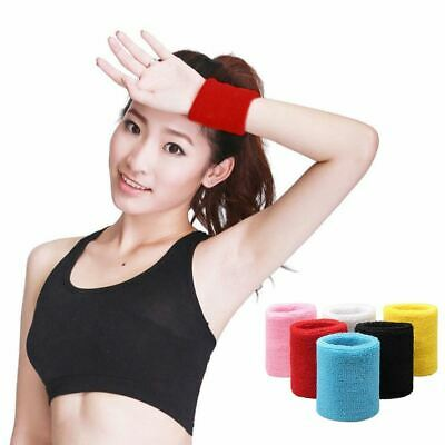 [1 Pair] Wrist Sweatbands Unisex Wristband Sports Tennis Squash Badminton Gym UK